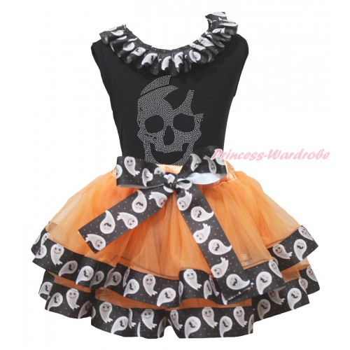 Halloween Black Baby Pettitop White Ghost Lacing & Rhinestone Skeleton Print & Orange White Ghost Trimmed Newborn Pettiskirt NG1852