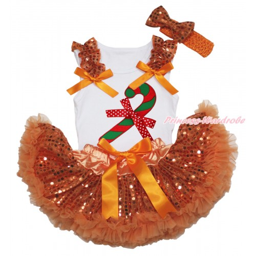 Christmas White Baby Pettitop Orange Sequins Ruffles Orange Bows & Christmas Stick & Minnie Dots Bow Print & Orange Bling Sequins Newborn Pettiskirt NG1871