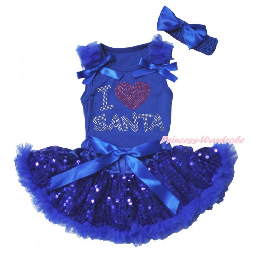 Christmas Royal Blue Baby Pettitop & Ruffles & Bows & Rhinestone I Love Santa Print & Royal Blue Bling Sequins Newborn Pettiskirt NG1875
