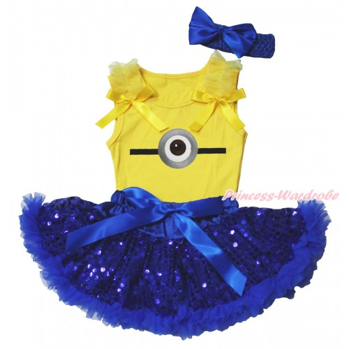 Yellow Baby Pettitop & Ruffles & Bows & Minion Print & Royal Blue Bling Sequins Newborn Pettiskirt NG1879
