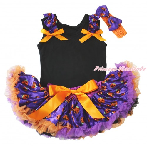 Halloween Black Baby Pettitop Purple Pumpkin Ruffles Orange Bows & Purple Pumpkin Newborn Pettiskirt NG1881