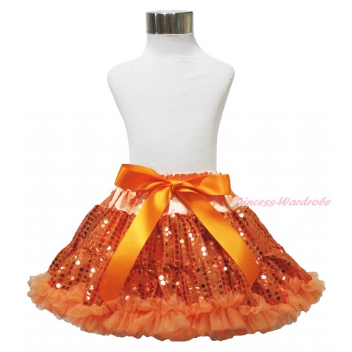 Sparkle Orange Bling Sequins Full Pettiskirt P227