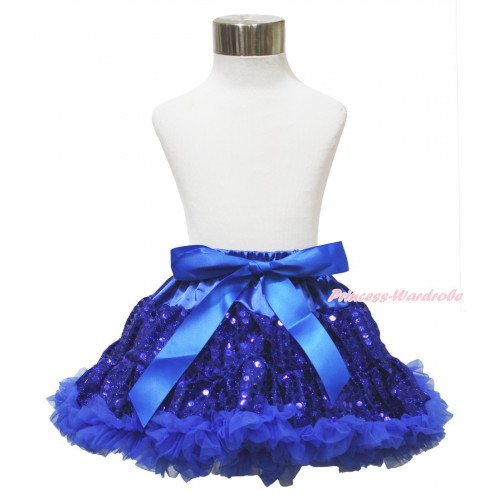 Sparkle Royal Blue Bling Sequins Full Pettiskirt P230
