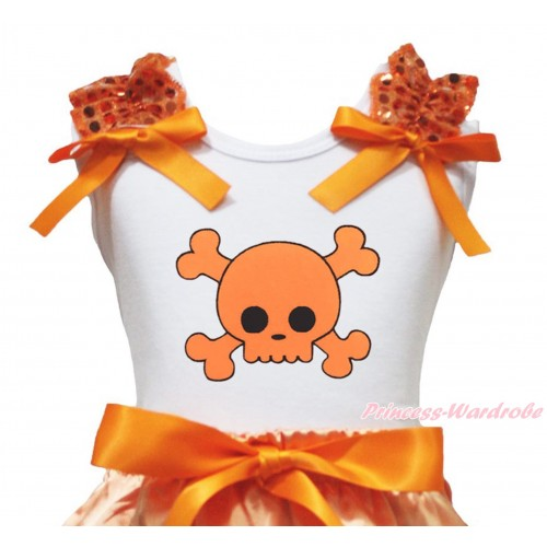 Halloween White Tank Top Orange Sequins Ruffles Orange Bow & Orange Skeleton Print TB1324