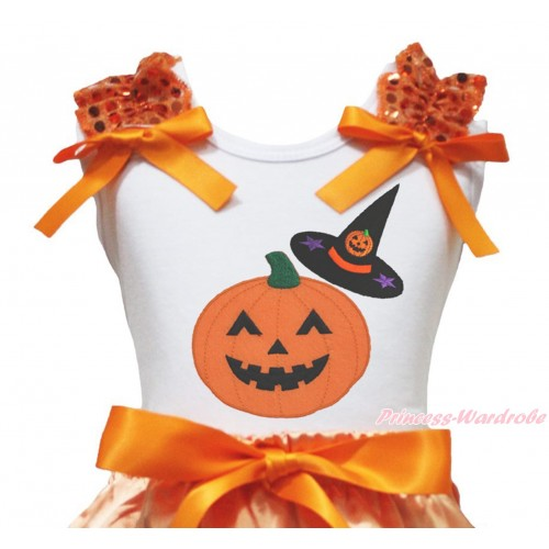 Halloween White Tank Top Orange Sequins Ruffles Orange Bow & Pumpkin Witch Hat & Pumpkin Print TB1325