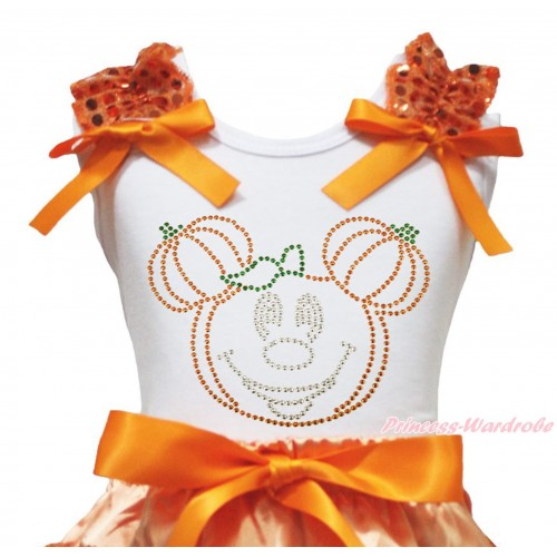 Halloween White Tank Top Orange Sequins Ruffles Orange Bow & Sparkle Rhinestone Pumpkin Minnie Print TB1326