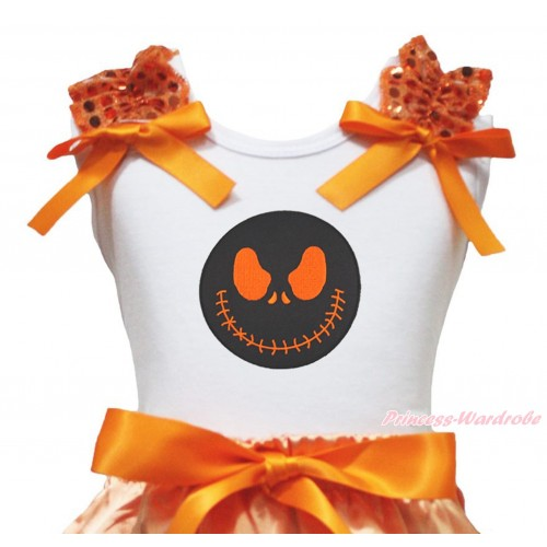 Halloween White Tank Top Orange Sequins Ruffles Orange Bow & Nightmare Before Christmas Jack Print TB1327
