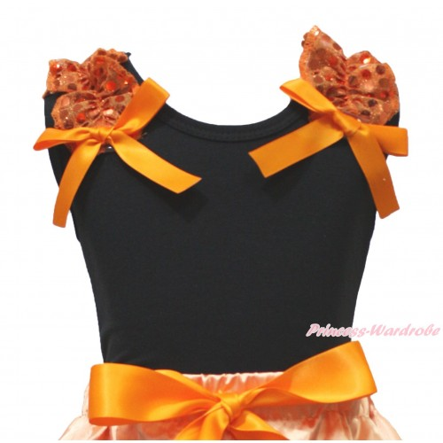 Black Tank Top Orange Sequins Ruffles Orange Bow TB1328