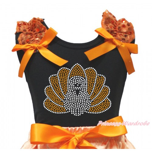 Thanksgiving Black Tank Top Orange Sequins Ruffles Orange Bow & Sparkle Rhinestone Turkey Print TB1330