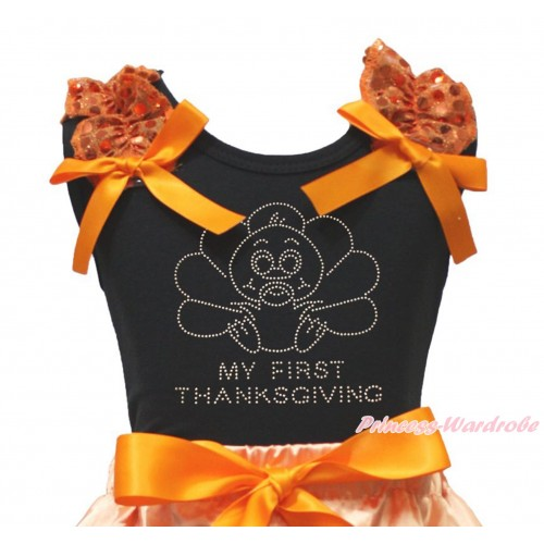 Thanksgiving Black Tank Top Orange Sequins Ruffles Orange Bow & Sparkle Rhinestone Baby Turkey Print TB1331