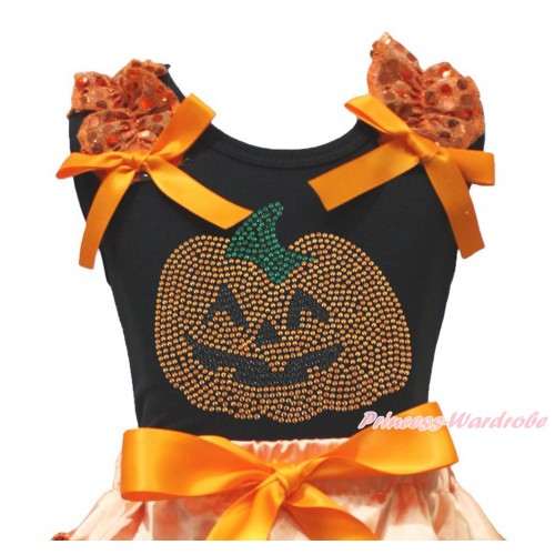 Halloween Black Tank Top Orange Sequins Ruffles Orange Bow & Sparkle Rhinestone Orange Pumpkin Print TB1332