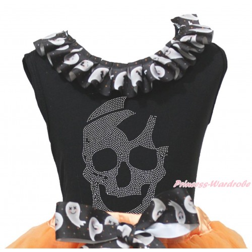 Halloween Black Tank Top White Ghost Lacing & Sparkle Rhinestone Skeleton Print TB1334