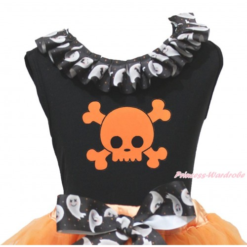 Halloween Black Tank Top White Ghost Lacing & Orange Skeleton Print TB1337