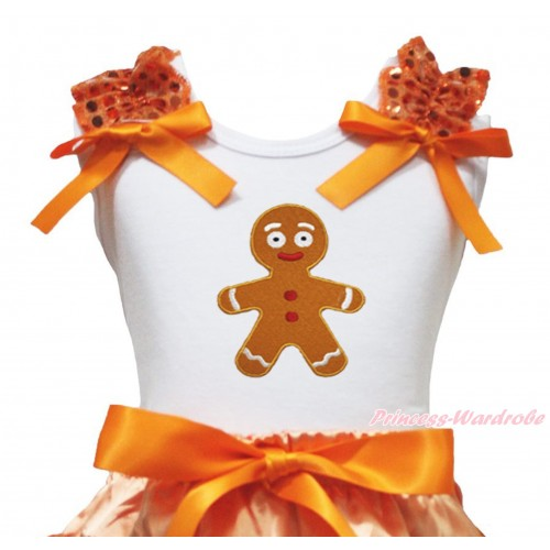 Christmas White Tank Top Orange Sequins Ruffles Orange Bow & Brown Gingerbread Print TB1353