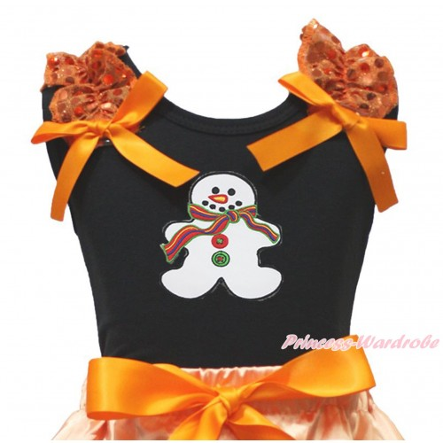 Xmas Black Tank Top Orange Sequins Ruffles Orange Bow & Christmas Gingerbread Snowman Print TB1354