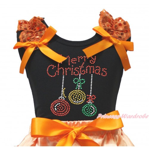 Xmas Black Tank Top Orange Sequins Ruffles Orange Bow & Sparkle Rhinestone Christmas Lights Print TB1355