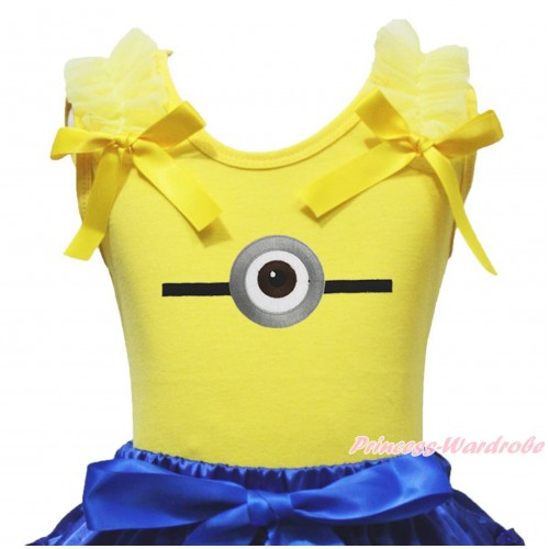 Yellow Tank Top & Ruffles & Bow Minion Print TB1358