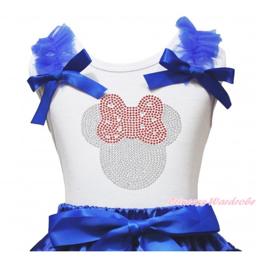 White Tank Top Royal Blue Ruffles & Bow & Sparkle Rhinestone Minnie Print TB1361