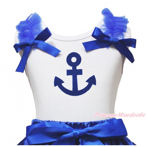 White Tank Top Royal Blue Ruffles & Bow & Royal Blue Anchor Print TB969