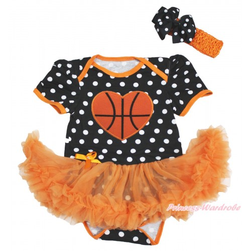 Black White Dots Baby Bodysuit Orange Pettiskirt & Basketball Heart Print JS4814