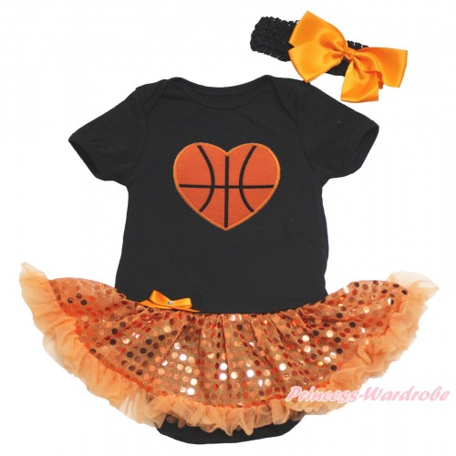 Black Baby Bodysuit Bling Orange Sequins Pettiskirt & Basketball Heart Print JS4816
