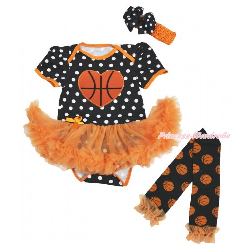 Black White Dots Bodysuit Orange Pettiskirt & Basketball Heart Print & Headband & Warmers Leggings JS4817