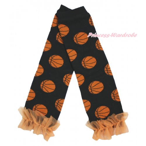 Newborn Baby Basketball Black Leg Warmers Leggings & Orange Ruffles LG300