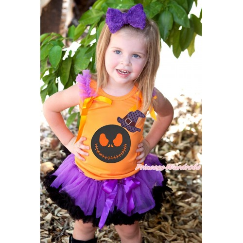 Halloween Orange Tank Top Dark Purple Ruffles Orange Bow & Sparkle Hat Nightmare Before Christmas Jack Print & Dark Purple Black Pettiskirt MG1855