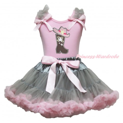 Light Pink Tank Top Grey Ruffles Light Pink Bow & Cowgirl Hat Boot Print & Grey Light Pink Pettiskirt MG1899