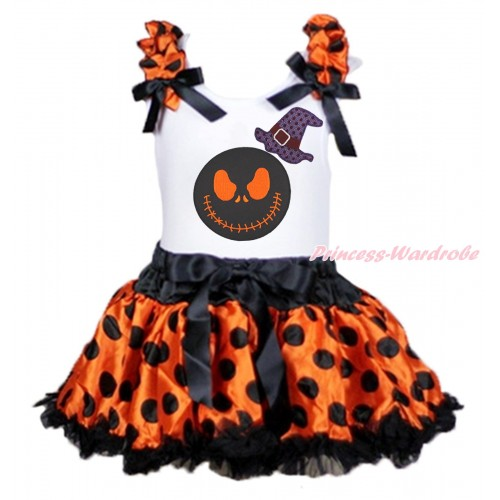 Halloween White Baby Pettitop Orange Black Dots Ruffles Black Bows & Sparkle Hat Nightmare Before Christmas Jack & Orange Black Dots Newborn Pettiskirt NG1835