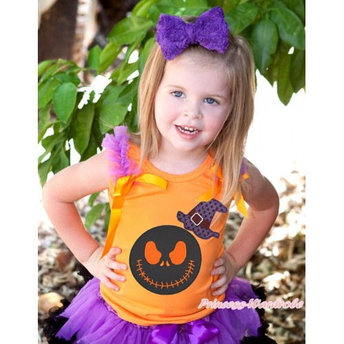 Halloween Orange Tank Top Dark Purple Ruffles Orange Bow & Sparkle Hat Nightmare Before Christmas Jack Print TB1309