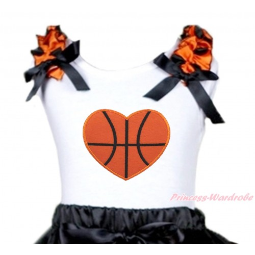 White Tank Top Orange Black Dots Ruffles Black Bow & Basketbal Heart Print TB1310