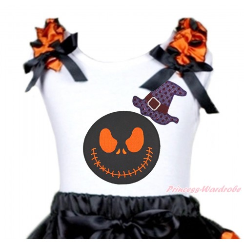 Halloween White Tank Top Orange Black Dots Ruffles Black Bow & Sparkle Hat Nightmare Before Christmas Jack Print TB1311