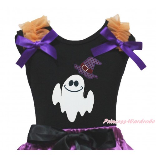 Halloween Black Tank Top Orange Ruffles Dark Purple Bow & Sparkle Hat White Ghost Print TB1312