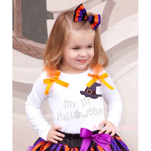 Halloween White Top Orange Ruffles & Bow & Sparkle Hat Rhinestone My 1st Halloween Print TB1313