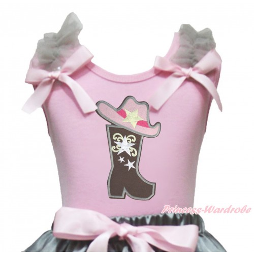 Light Pink Tank Top Grey Ruffles Light Pink Bow & Cowgirl Hat Boot Print TB1314