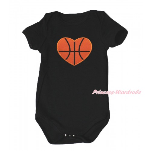 Black Baby Jumpsuit & Basketball Heart Print TH635
