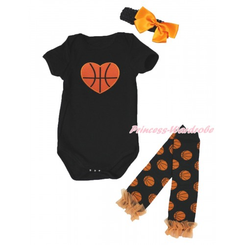 Black Baby Jumpsuit Basketball Heart Print & Headband & Warmer Set TH636