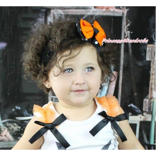 Orange & Black White Polka Dots Ribbon Bow Hair Clip H405