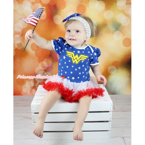 American Stars Baby Bodysuit White Red Pettiskirt & Wonder Woman Print JS4722