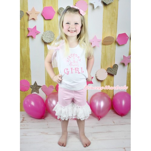 White Tank Top Light Pink Lace Bow & Birthday Girl Print & Light Pink Cotton Short Pantie & White Lace Ruffles P053