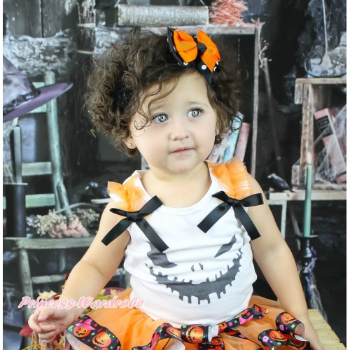 Halloween White Tank Top Orange Ruffles Black Bow & Ghost Face Print TB1275