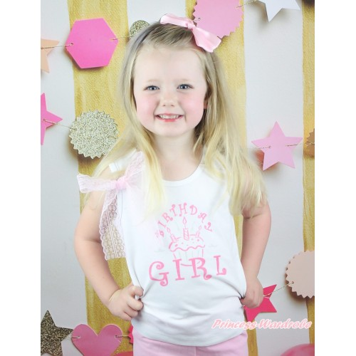 White Tank Top Light Pink Lace Bow & Birthday Girl Print TB1301