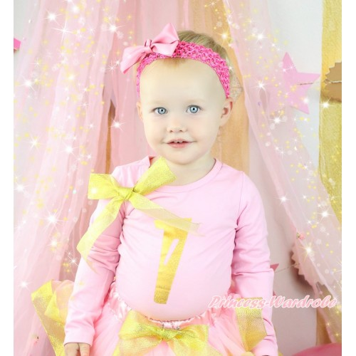 Light Pink Top Sparkle Gold Bow & 1st Sparkle Gold Birthday Number Painting TB1303