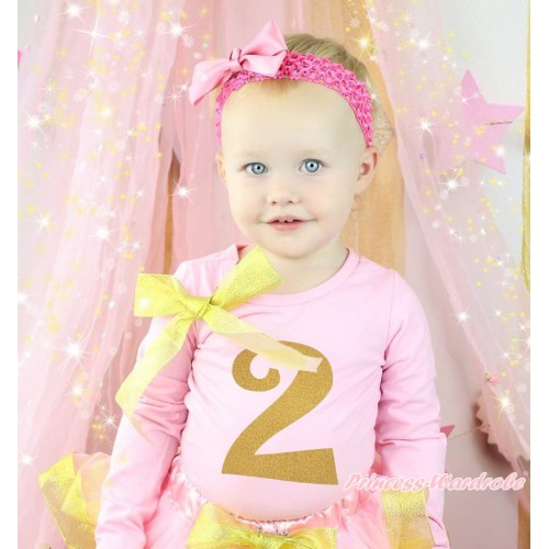 Light Pink Top Sparkle Gold Bow & 2nd Sparkle Gold Birthday Number Painting TB1304