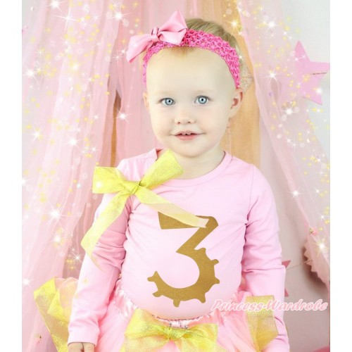 Light Pink Top Sparkle Gold Bow & 3rd Sparkle Gold Birthday Number Painting TB1305