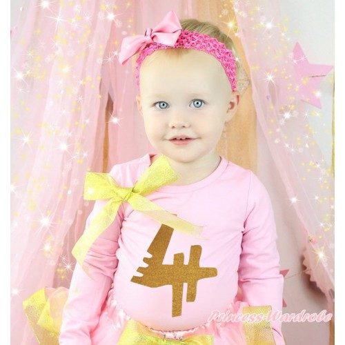 Light Pink Top Sparkle Gold Bow & 4th Sparkle Gold Birthday Number Painting TB1306