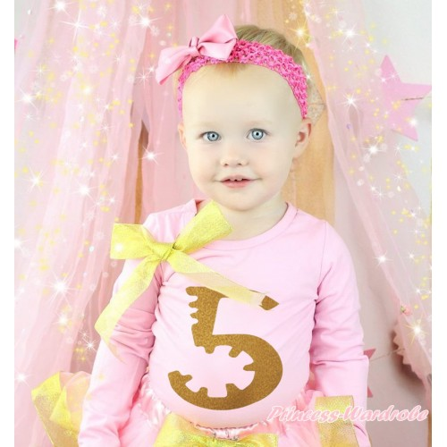 Light Pink Top Sparkle Gold Bow & 5th Sparkle Gold Birthday Number Painting TB1307