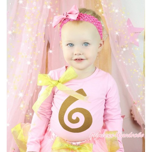 Light Pink Top Sparkle Gold Bow & 6th Sparkle Gold Birthday Number Painting TB1308