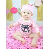 Halloween Light Pink White Dots Baby Jumpsuit Heart Eyes Skeleton Print & Cap Set TH625